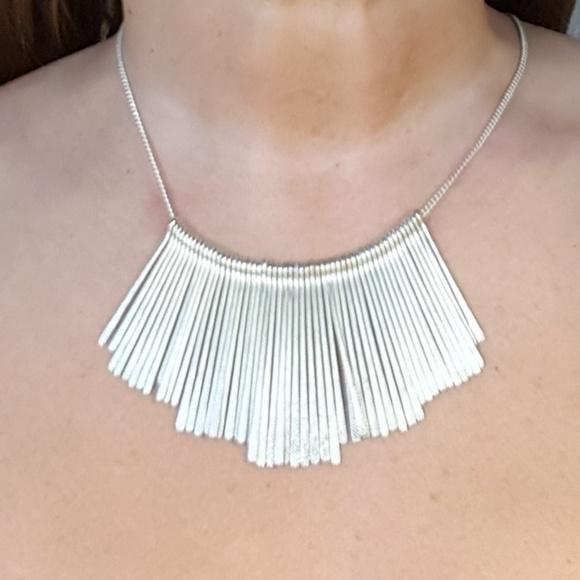 e6d850fb3d2135 Downeast Jewelry | Silver Drop Bar Bib Statement Choker Necklace ...